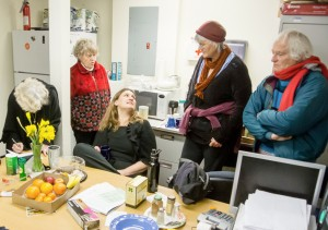 Discussion among some of those occupying the Pacifica Office. L to R, Geneva Reese, Cynthia Johnson, Summer Reese, Virginia Browning, & Daniel Borgstrum