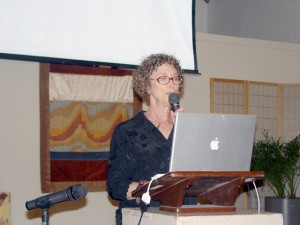Janet Kobren talking at a fundraiser for the 2010 Gaza freedom flotilla. Ms Kobren participated in the Flotilla and organized the fundraiser
