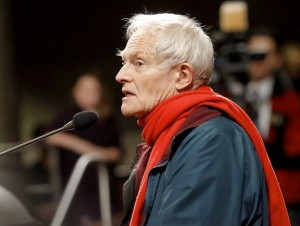 70 year old former Marine Daniel Borgstrom testifying before the Oakland City Council about his tough economic situation and about being arrested twice in Occupy demonstrations.  2012. Photo: Brant Ward, The Chronicle