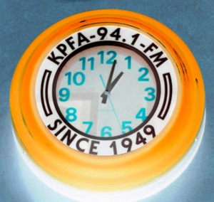 KPFA clock in orange