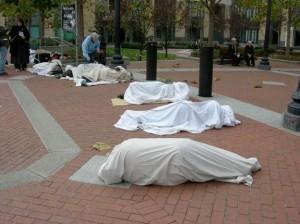Living Graveyard, Oakland, CA.  Anti-War Protest