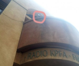 KPFA's creepy surveillance camera pointing downwards toward a recent KPFA demonstration in support of the Morning Mix.