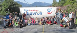 Canadian activists block highway to Chevron refinery to protest Chevron's participation in the Pacific Trail Pipeline and the destructive gas fracking it proposes using to supply the pipeline to the coast.