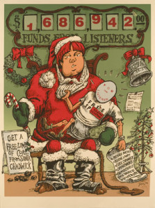 """One of the many graphics from the 1999 struggle.  Santa holds the listeners like a baby.  Beside her right knee, a sign reads """"Get a Free Lump of Coal from Santa Chadwick.""""  It refers to the then Pacifica Executive Director Lynn Chadwick."""
