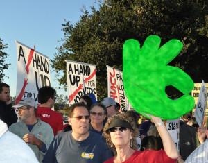 Janet Kobren at a protest at the San Leandro Walmart, 2013