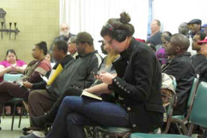 Richmond public housing residents at a crowded discussion called by Richmond Alliance's then Mayor Gayle McLaughlin.