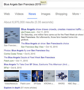 Google screen shot shows Ann's Blue Angel story as second option.